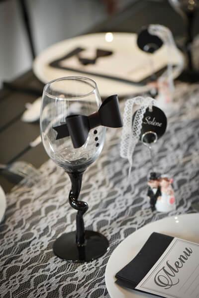 Decoration d'un verre mariage