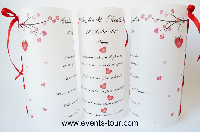 Decoration De Table Menu Rouge : Menu photophore mariage à prix discount