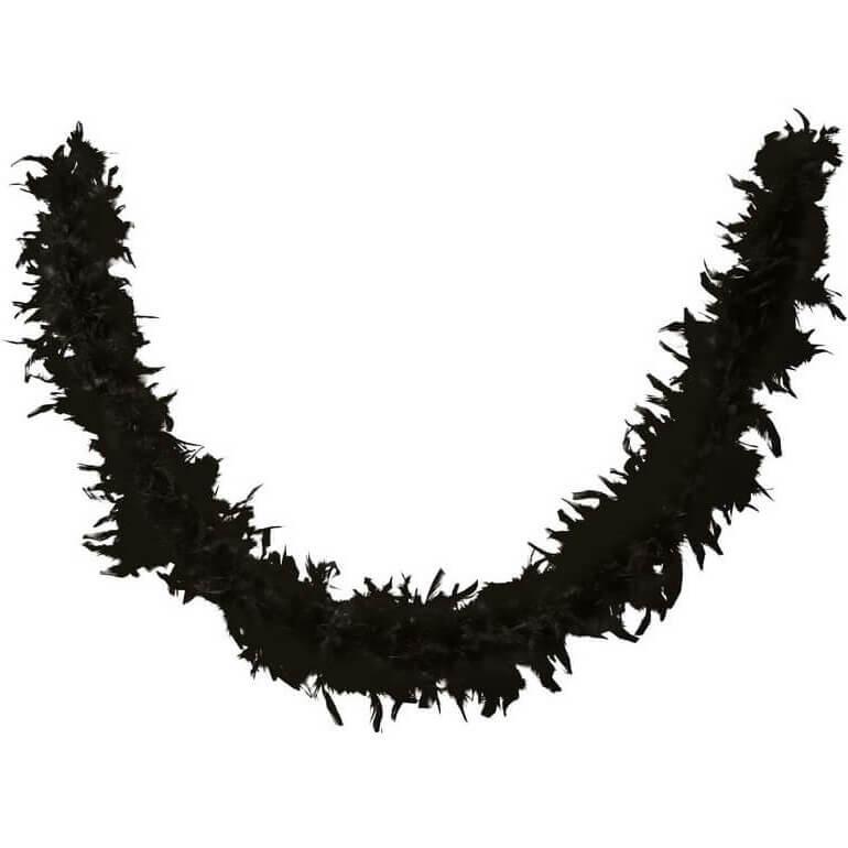 Accessoire de deguisement avec boa en plumes noir