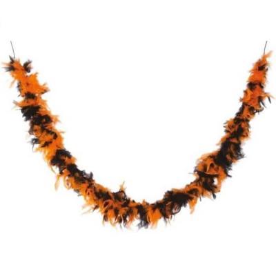 Accessoire de déguisement avec Boa noir et orange en plumes de 1.80m (x1) REF/10045