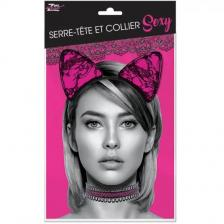 Accessoire de déguisement serre-tête et collier sexy en dentelle noir et rose fuchsia (x1) REF/SEXR022