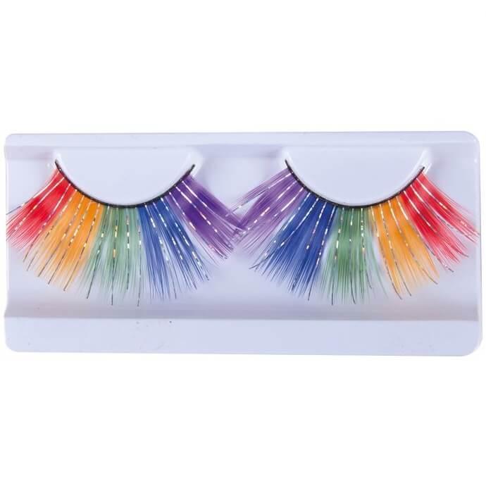 Accessoire de deguisement visage avec faux cils multicolore