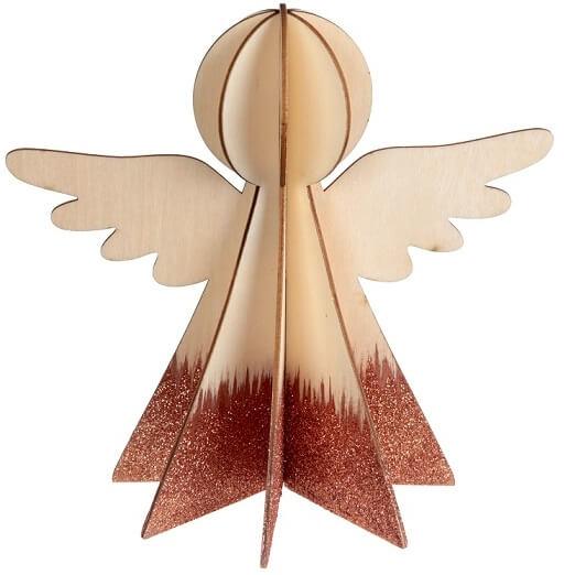 Ange en bois cuivre et naturel