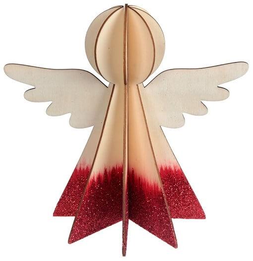 Ange en bois rouge et naturel