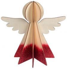 Ange en bois rouge et naturel (x1) REF/5569