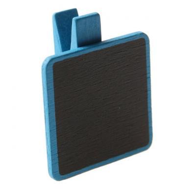 Ardoise carrée bleu turquoise sur pince (x6) REF/3864