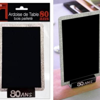 Ardoise de table anniversaire argent 80ans (x1) REF/ATBP08