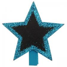 Ardoise étoile sur pince bleu turquoise (x4) REF/4644
