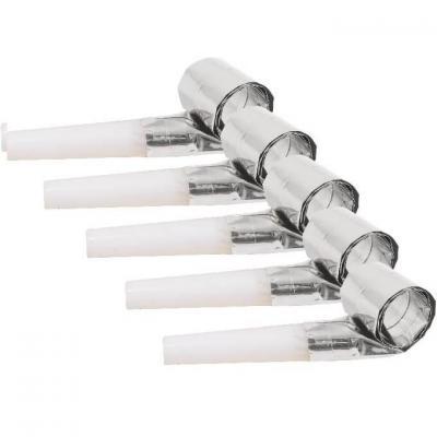 Sifflet sans-gêne argent métallique pour votre fête (x6) REF/32180