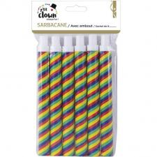 Article de fête avec sarbacanes multicolores et ses embouts (x6) REF/70117