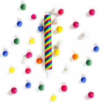 Article de fête avec sarbacane et 30 boules en papier multicolore (x1) REF/71041