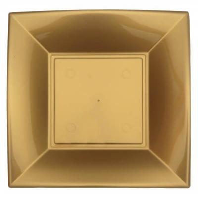 Assiette à dessert plastique réutilisable de 18cm en doré or (x8) REF/68052