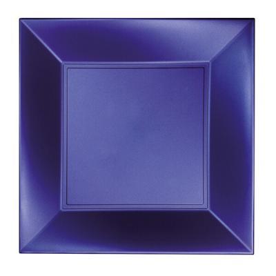Assiette à dessert plastique réutilisable de 18cm en bleu perlé (x8) REF/58052