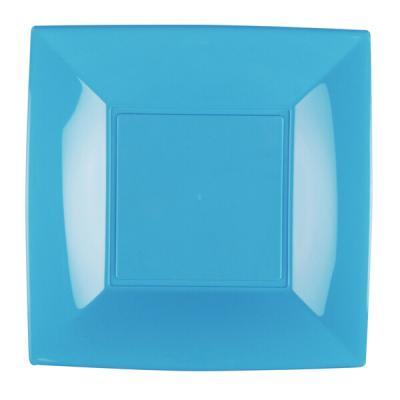Assiette à dessert plastique réutilisable de 18cm en bleu turquoise (x8) REF/58052