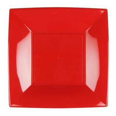 Assiette à dessert plastique réutilisable de 18cm en rouge (x8) REF/58052