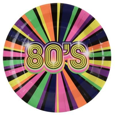 Assiette année 80 multicolore (x10) REF/6712