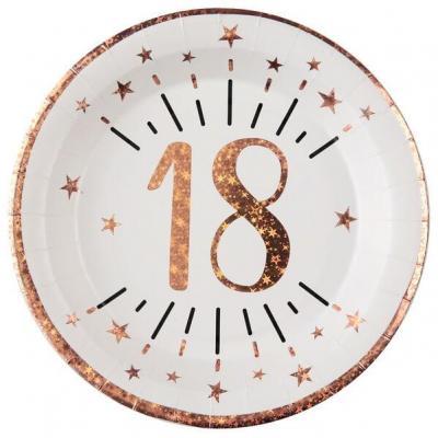 Assiette anniversaire 18 ans blanche et rose gold métallisé 22.5cm (x10) REF/7348