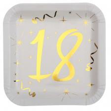 Assiette anniversaire blanche et or 18ans (x10) REF/6156