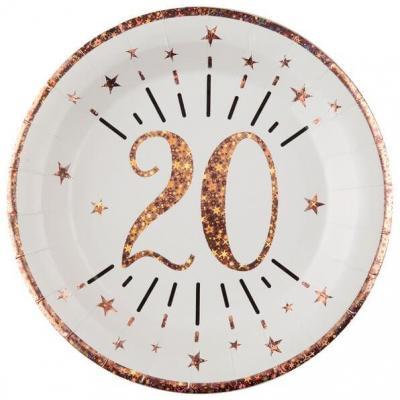 Assiette anniversaire 20 ans blanche et rose gold métallisé 22.5cm (x10) REF/7348