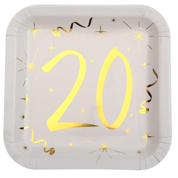 Assiette anniversaire 20ans or et blanche