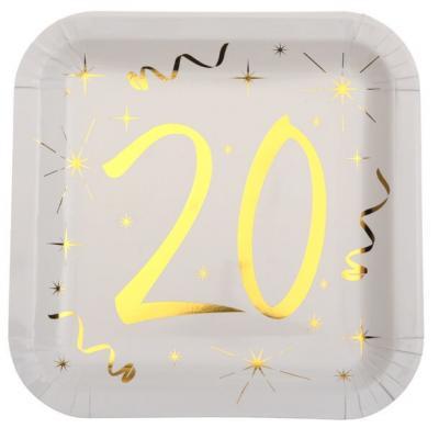 Assiette anniversaire blanche et or 20ans (x10) REF/6156