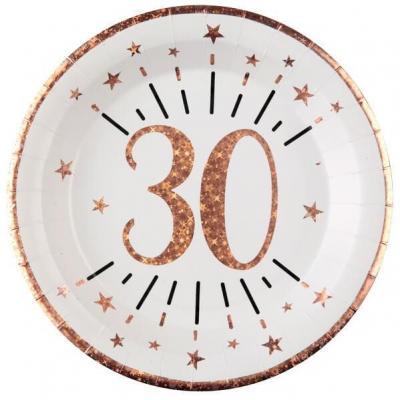 Assiette anniversaire 30 ans blanche et rose gold métallisé 22.5cm (x10) REF/7348
