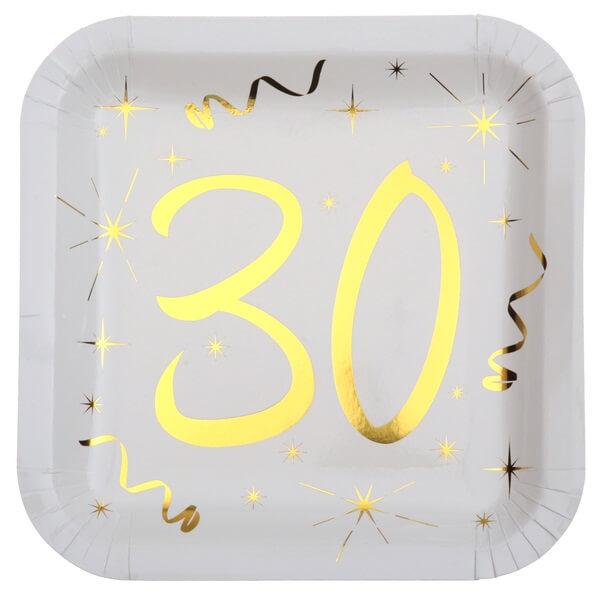 Assiette anniversaire 30ans or et blanche