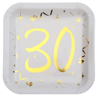 Assiette anniversaire blanche et or 30ans (x10) REF/6156