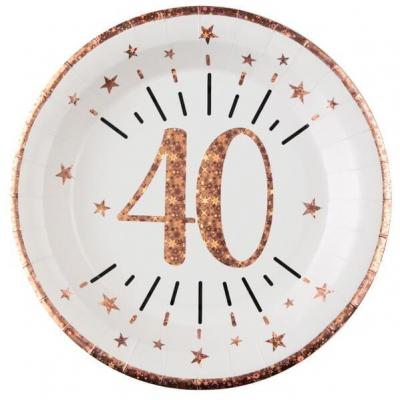 Assiette anniversaire 40 ans blanche et rose gold métallisé 22.5cm (x10) REF/7348
