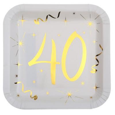 Assiette anniversaire blanche et or 40ans (x10) REF/6156
