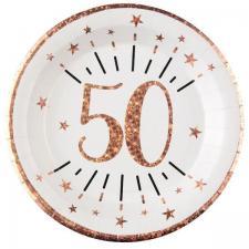 Assiette anniversaire 50 ans blanche et rose gold métallisé 22.5cm (x10) REF/7348