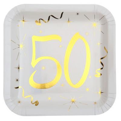 Assiette anniversaire blanche et or 50ans (x10) REF/6156