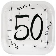 Assiette blanche anniversaire 50ans (x10) REF/5240