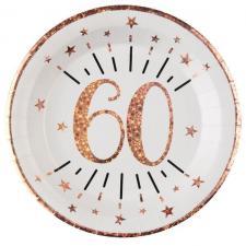 Assiette anniversaire 60 ans blanche et rose gold métallisé 22.5cm (x10) REF/7348