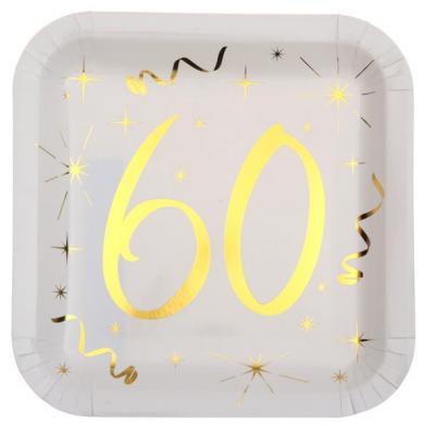 Assiette anniversaire blanche et or 60ans (x10) REF/6156