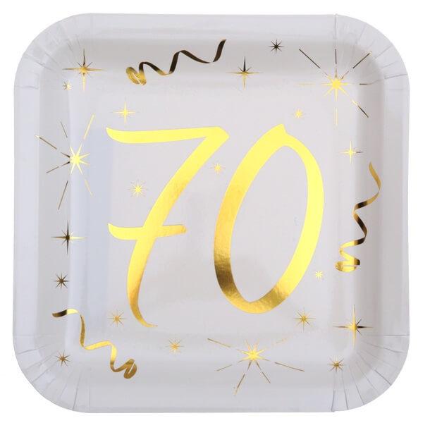 Assiette anniversaire 70ans or et blanche