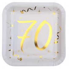 Assiette anniversaire blanche et or 70ans (x10) REF/6156