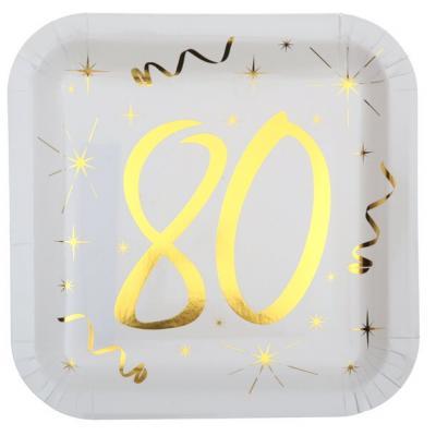 Assiette anniversaire blanche et or 80ans (x10) REF/6156
