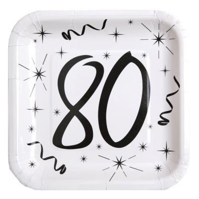 Assiette blanche anniversaire 80ans (x10) REF/5240