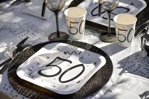 Assiette anniversaire blanche 50ans