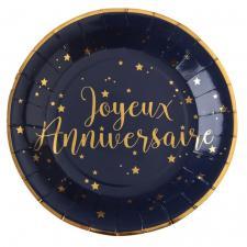 Assiette anniversaire bleue et or (x10) REF/5670