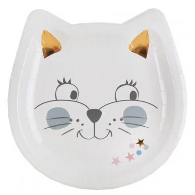 Assiette anniversaire enfant chaton multicolore 18cm (x10) REF/6691