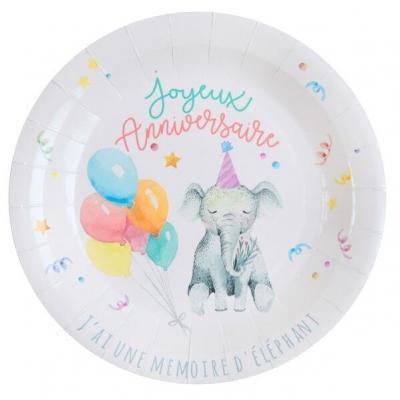 Assiette anniversaire enfant zoo 22.5cm (x10) REF/6754