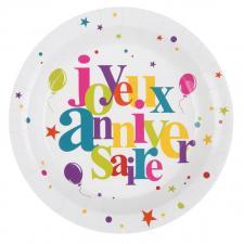 Assiette: Joyeux anniversaire festif (x10) REF/4780