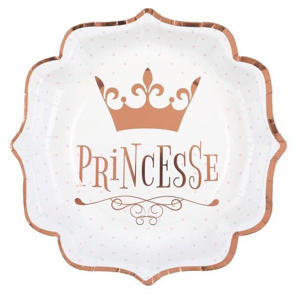 Assiette anniversaire princesse blanche et rose gold