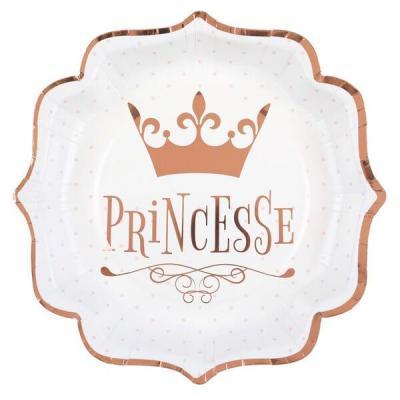 Assiette anniversaire princesse blanche et rose gold métallisée (x10) REF/7243