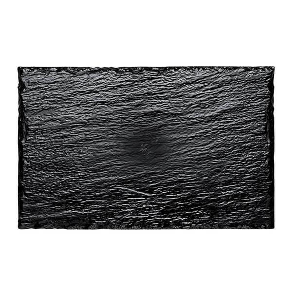 Assiette ardoise noire en plastique 22cm