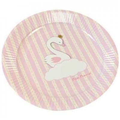 Assiette baby shower rose, 18cm (x6) REF/BB100