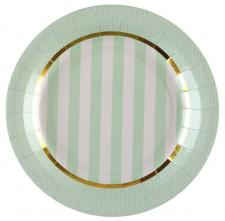 Assiette Baby Shower verte et or (x10) REF/5713