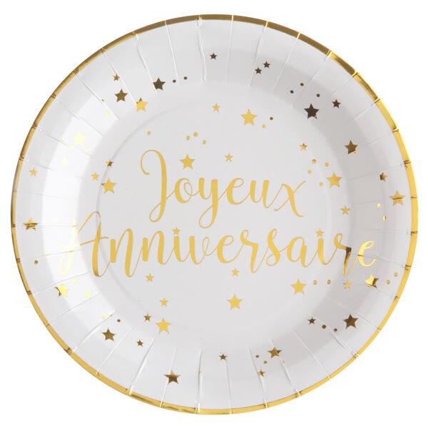 Assiette blanche et or joyeux anniversaire